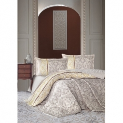 Cotton Box Nakışlı Aile Bornoz Seti Mint Krem