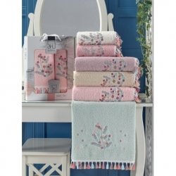 Cotton Box Nakışlı Aile Bornoz Seti Pembe Beyaz